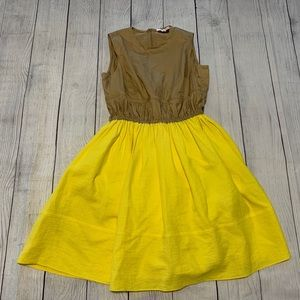 Carven Colorblock Khaki and Yellow Dress Sz. 38